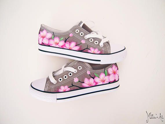 Japanese hand painted shoes sakura shoes cherry blossom shoes japanese hand painted shoes sakura shoes cherry blossom shoes pink flowers shoes mightylinksfo