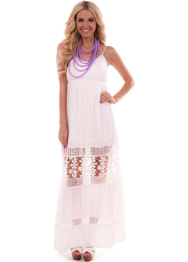 4176f41eac0 Lime Lush Boutique - White Crochet Detail Maxi Dress