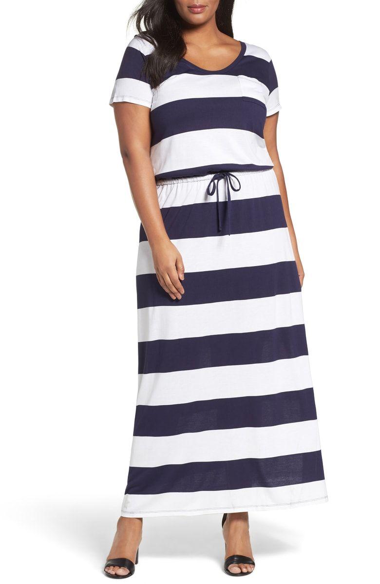 Caslon Knit Drawstring Waist Maxi Dress Plus Size Nordstrom [ 1196 x 780 Pixel ]