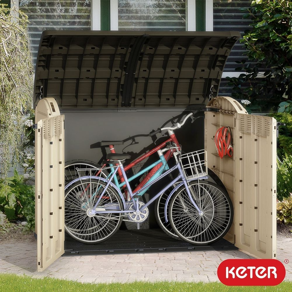 Plastic Garden Storage Shed Outdoor Store Bicycle Box Patio Tools Cabinet Bikes Outside Bike Storage Bike Storage Outdoor Bike Storage