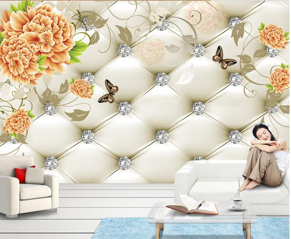 3d bathroom wallpaper Peony background wall painting Home