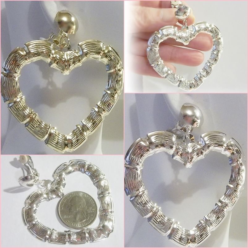 Clip On 2 3 8 Bamboo Heart Light Hoop Non Pierced Silver Gold Tone Fun Earrings Unbranded