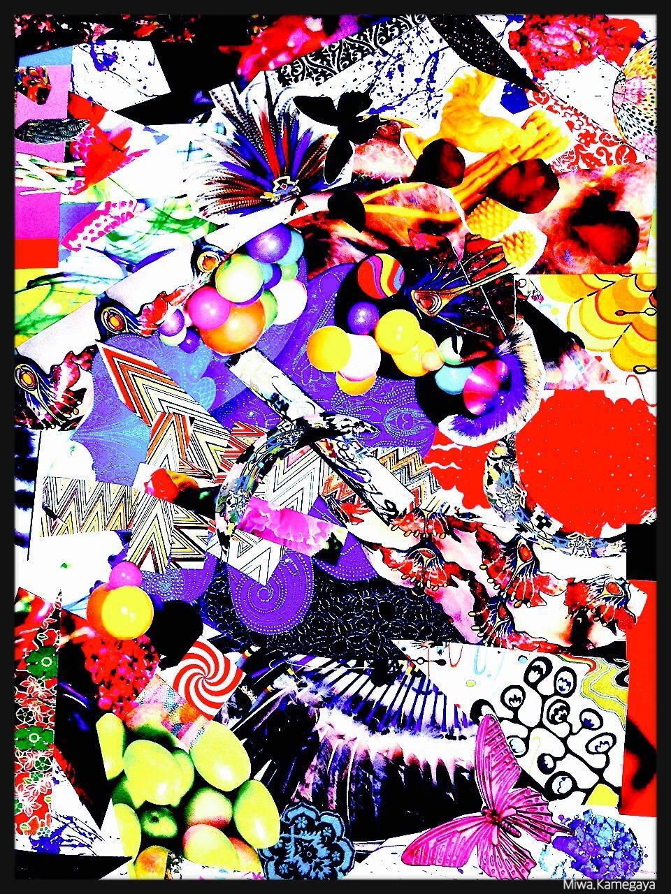 コラージュアート エスプルーム グラフィックデザイン 極彩色 サイケデリック 亀ヶ谷美羽 Miwa.Kamegaya
