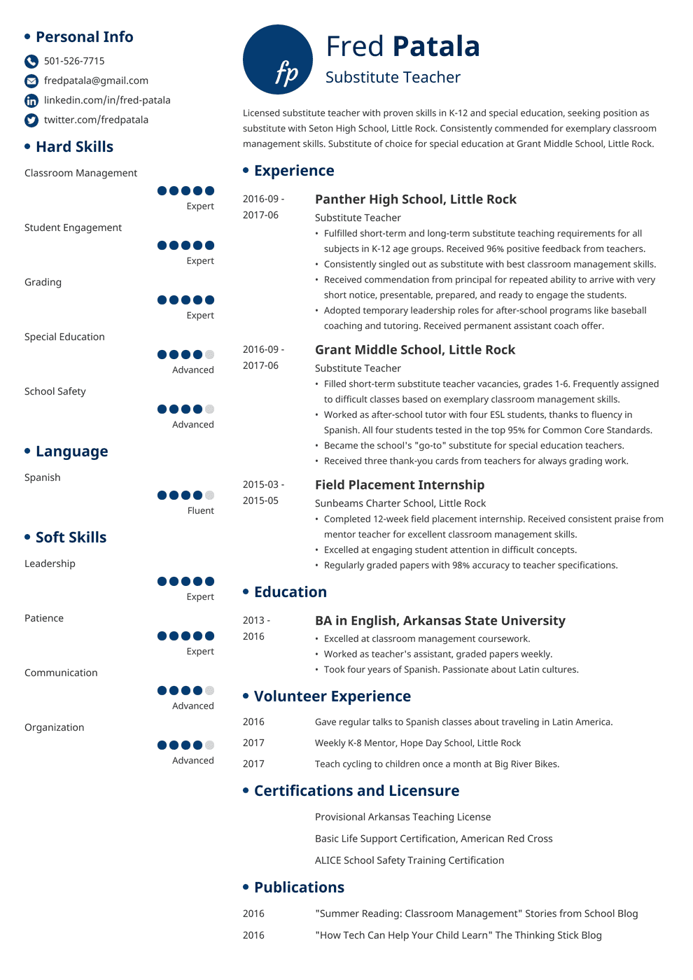 substitute teacher resume template initials in 2020