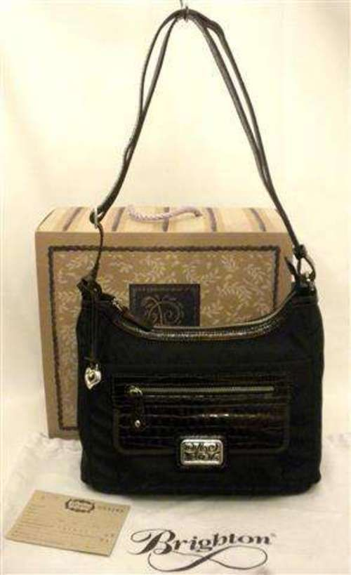 d94e369d7cde Brighton Blaine Cross-Body Bag Black   Chocolate Croco Patent Leather  H53249 NWT  Brighton  MessengerCrossBody