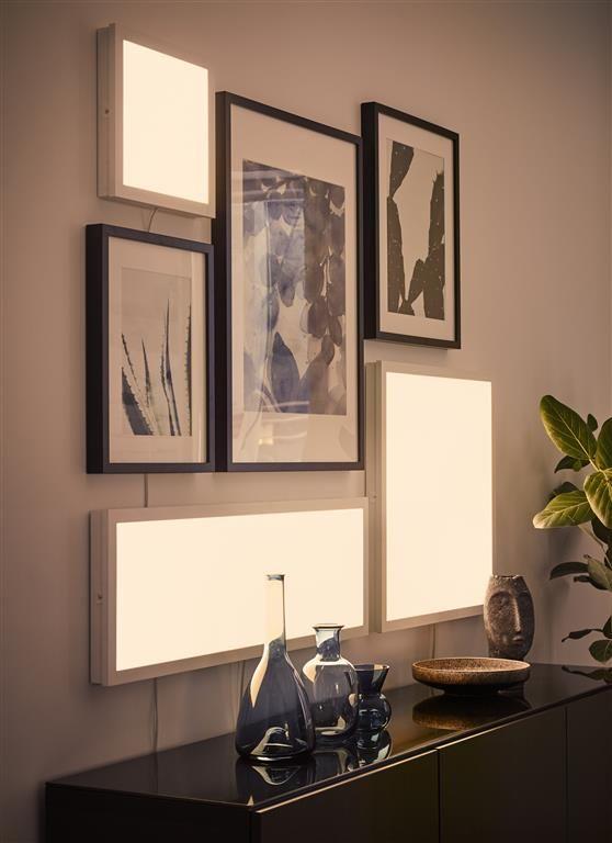 Deko Mit LED. Hier Haben Wir Die FLOALT Lichtpaneele Mit Verschiedenen  Rahmen Als Leuchtenden Wanddekoration Kombiniert.