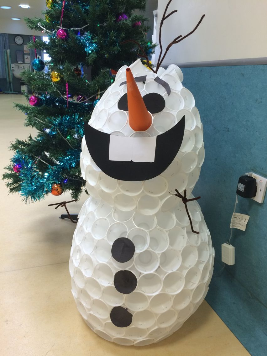 Plastic Cup Snowman Turned Into Olaf Snowman Decorations