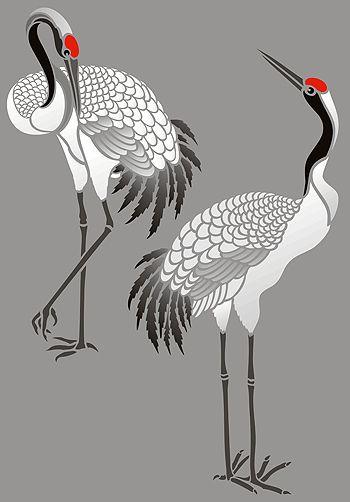 Asian Crane Embroidery Design