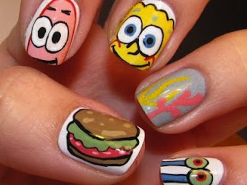 Uñas Decoradas Con Bob Esponja Uñas Pinterest Nail Art Nails