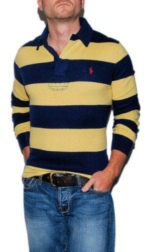 Polo Ralph Lauren Mens Merino Wool Sweater Navy Yellow Small