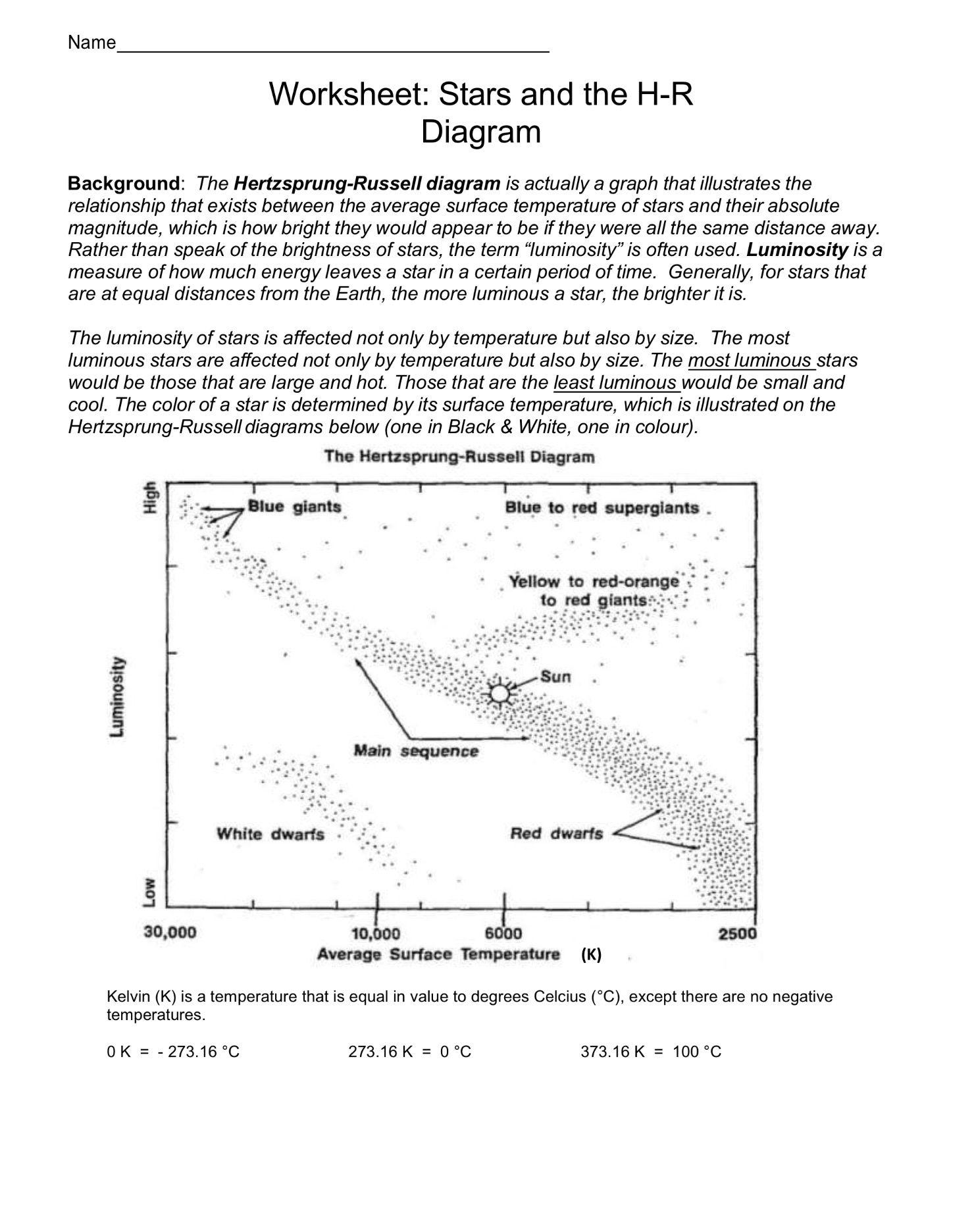 Hertzsprung Russell Worksheet