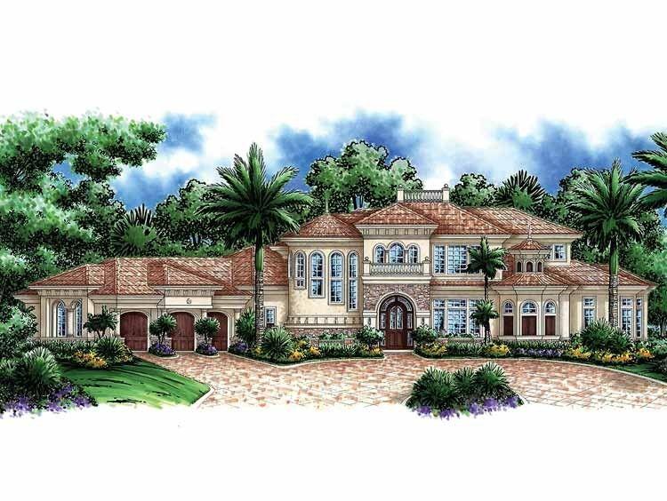 Eplans Mediterranean House Plan Gorgeous Work Of Art 5604 Square Feet A Mediterranean House Plans Mediterranean Style House Plans Mediterranean Style Homes
