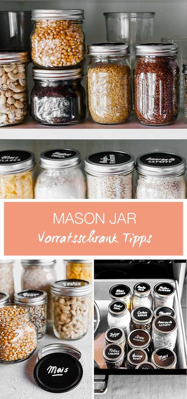 Mason Jar Vorratsglas // Ordnung im Vorratsschrank // Mehl, Zucker, Reis im Glas aufbewahren und immer im Blick haben mit den Tafelfarbe Deckeln auf den Ball Mason Gläsern #jarchandelier