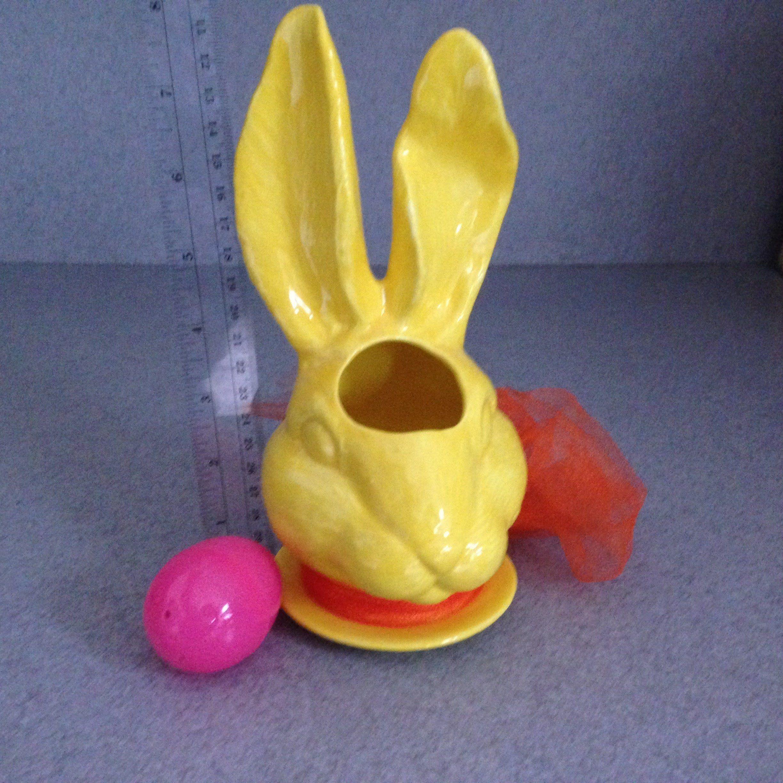 Planter Bunny Rabbit Design Bright Yellow Glaze Ceramic Flower Pot