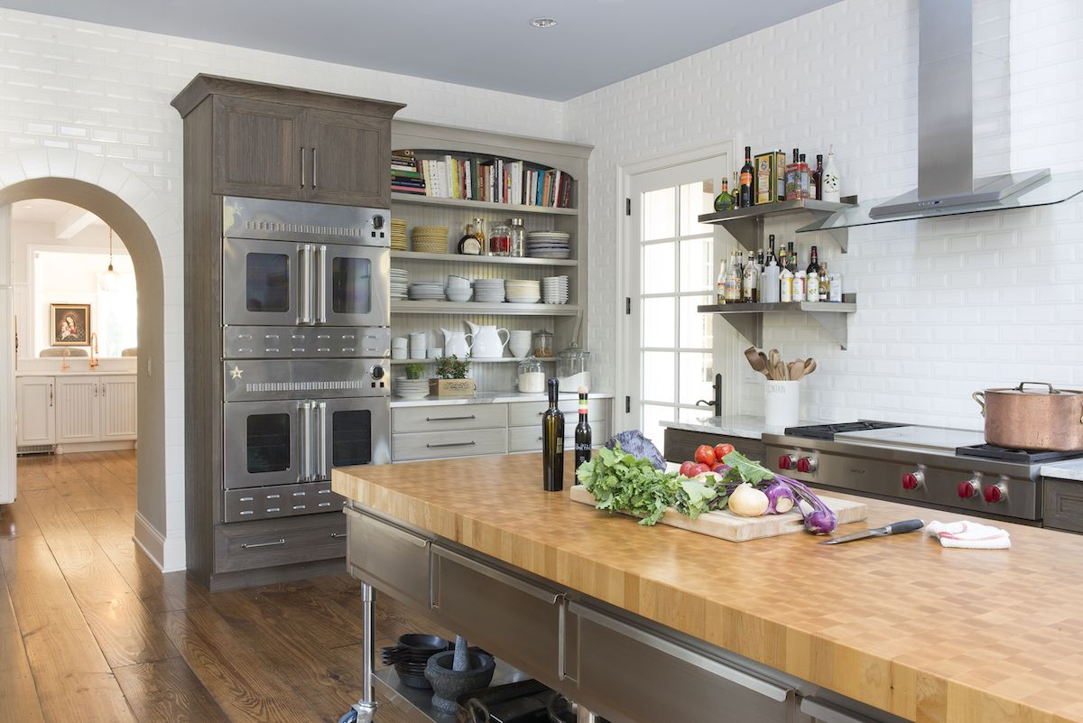 Delicieux Two Kitchens   White Working Kitchen With DuraSupreme Weathered Cherry  Cabinets And Custom Island By Jenny Rausch   Karr Bick Via Atticmag