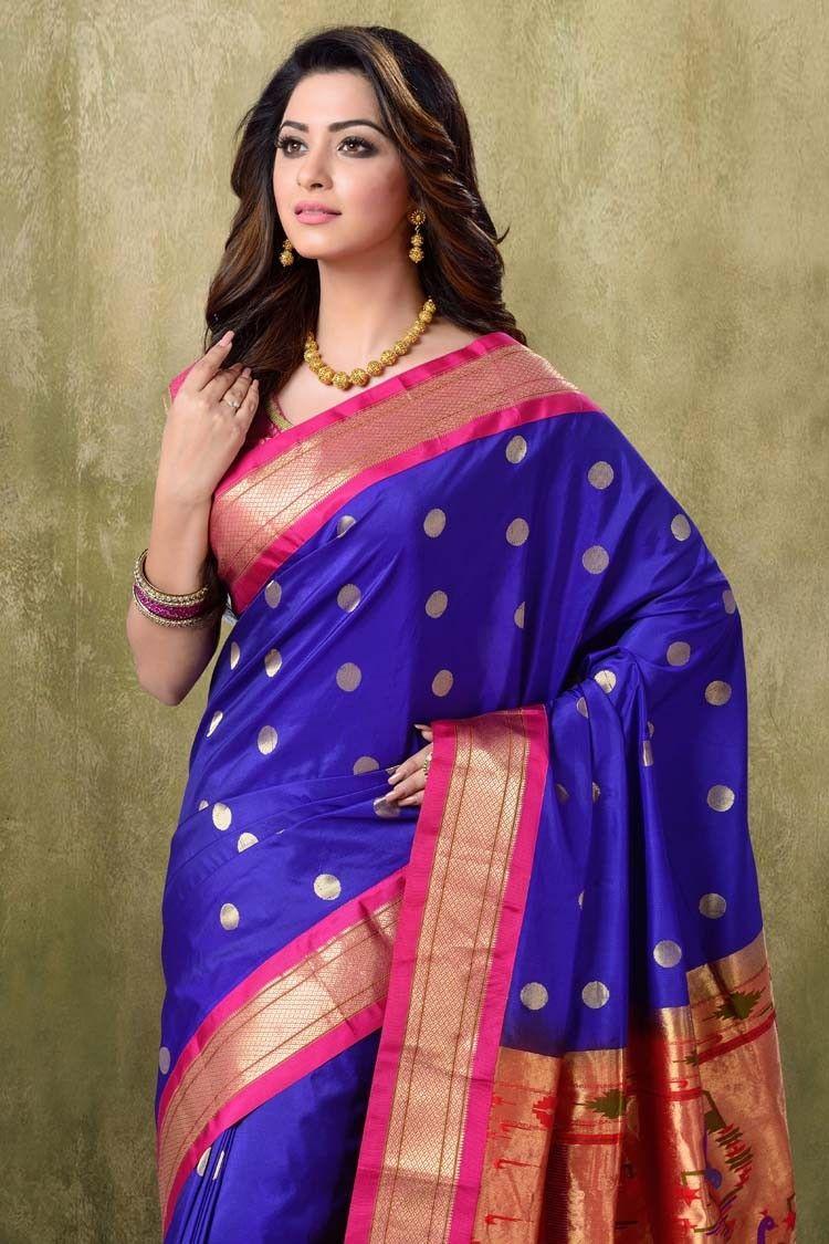cf2a6d0049dc5 Paithani Royal Blue Color with Rani Border