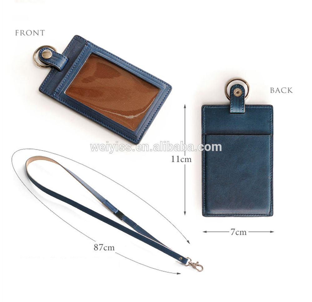 high quality leather id credit card holder case with lanyard wholesale pu leather id card holder for business - Id Card Holder