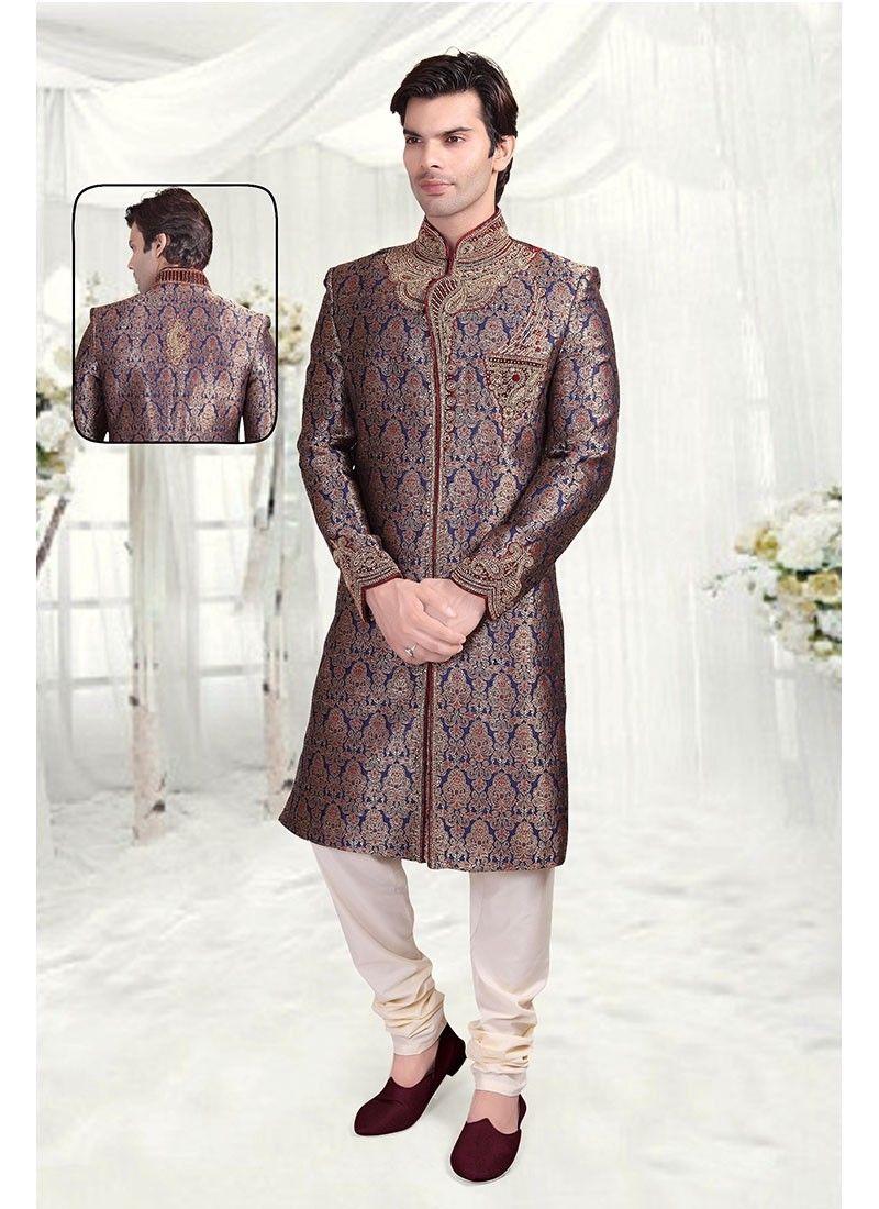 5b0a7ccb9e5 Blue Gold Brocade Wedding Sherwani