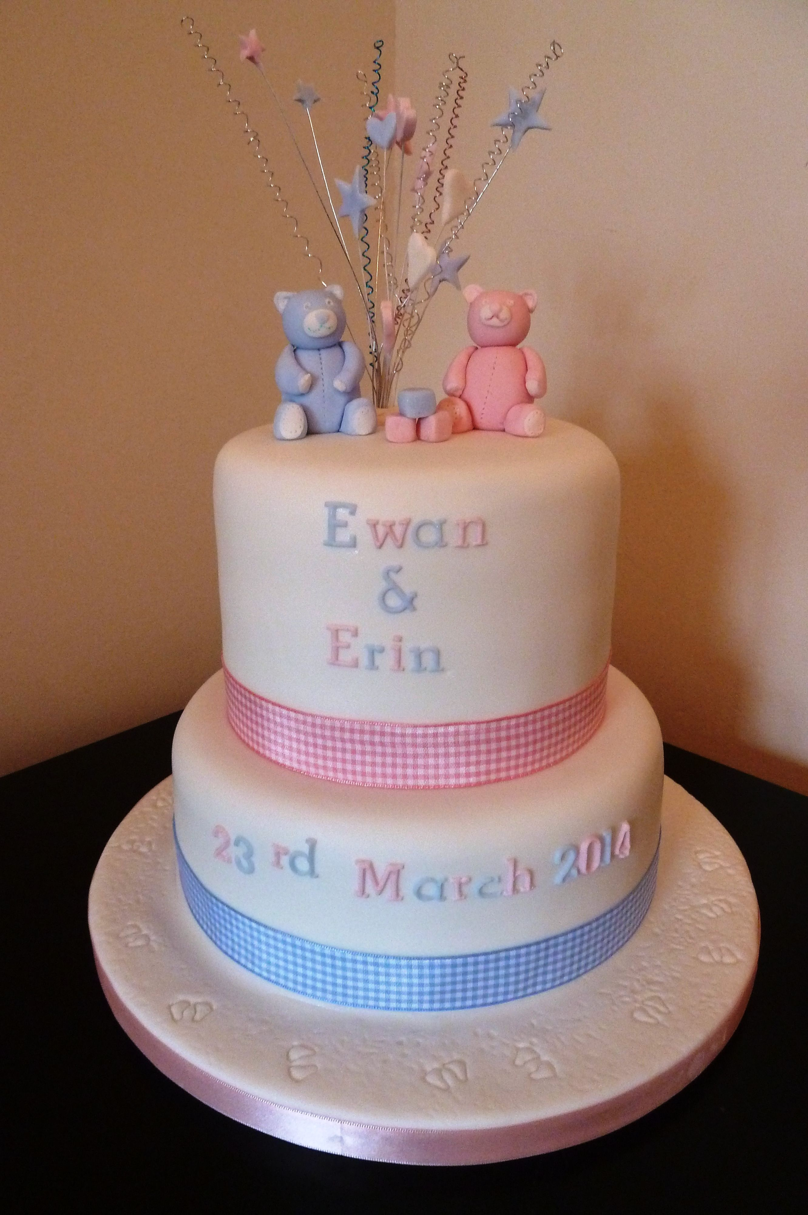 Pink And Blue Christening Cakes