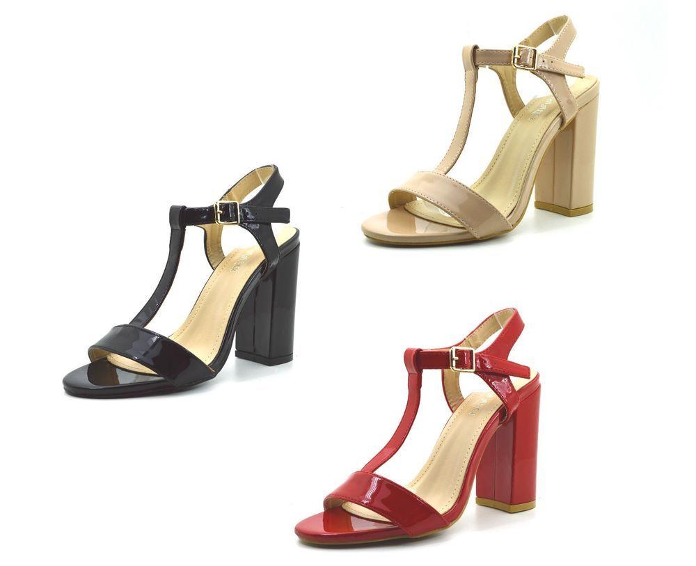 dd2cbc4a689a7 Scarpe sandali donna con tacco alto decolte lucide decolletè estive tre  colori