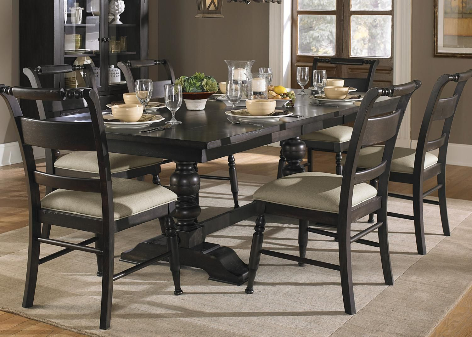 661 T4294 Liberty Black Cherry Trestle Table Black Cherry Big Sandy Superstores Dining Table Black Dark Wood Dining Room Wood Dining Room