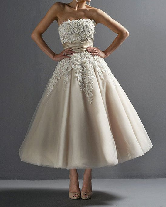 Strapless Applique Organza Wedding Dress/Retro Lace by fulldress, $230.00