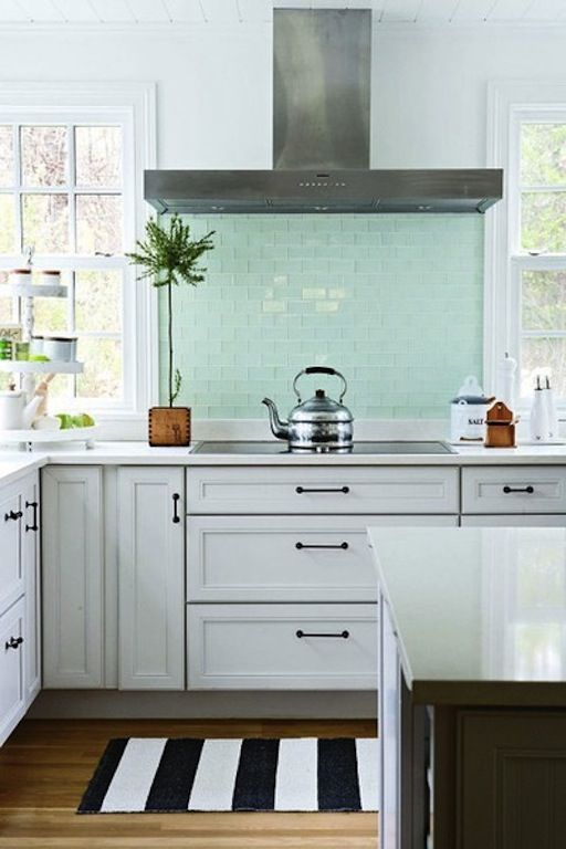 Beachy blue tile great hardware and hood also kitchen schemes