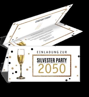 Nutzen Sie Unsere Gratis Silvestervorlagen Jetzt Online Onlineprintxxl Einladungskarte Silvester Champagner Party Einladungskarten Silvester Einladungen