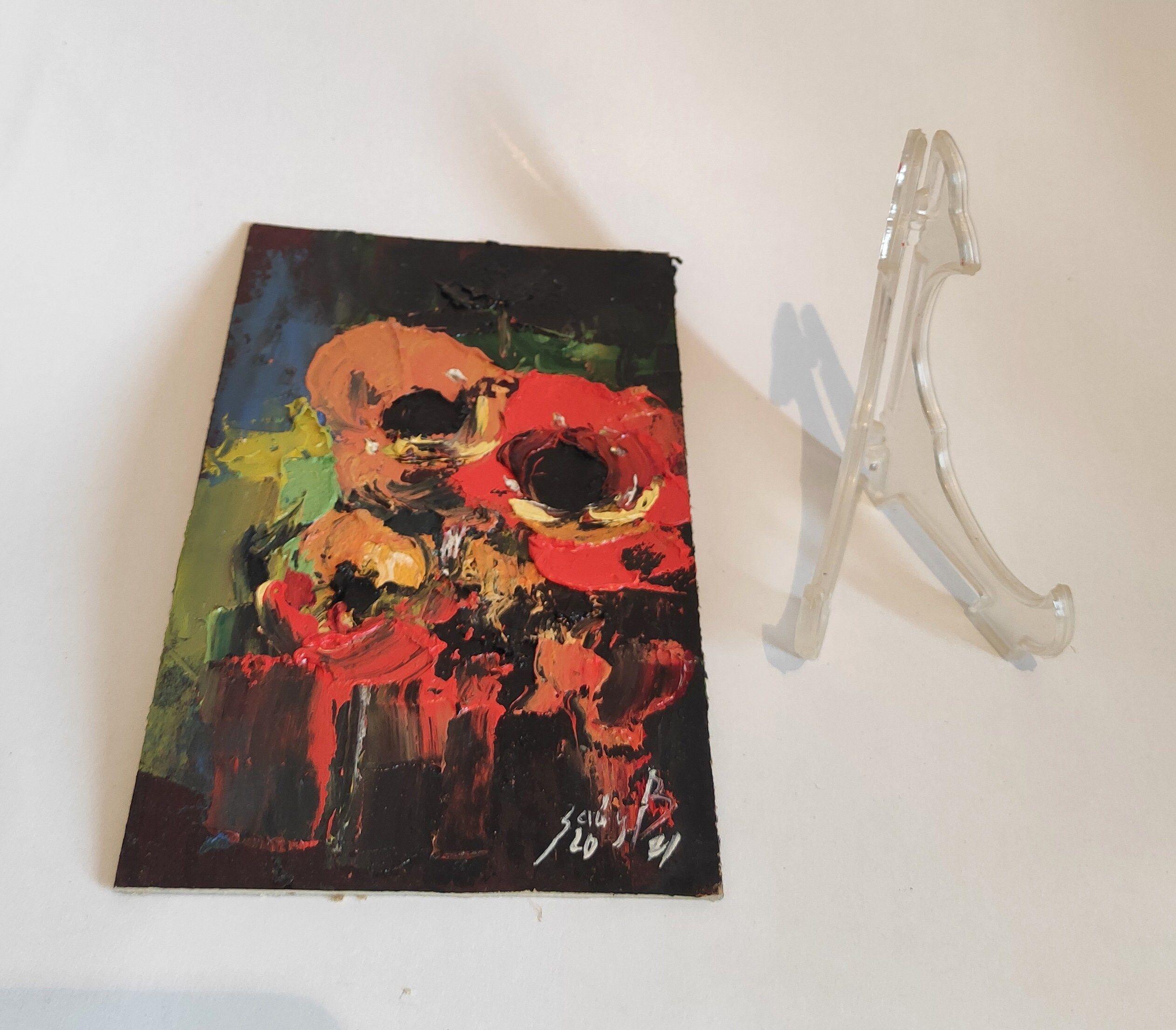 Маки Живопись Цветы Оригинальное искусство Абстрактные Цветы Произведение искусства Маленькая картина Импасто Картина маслом Красные маки Произведение искусства Цветочное искусство