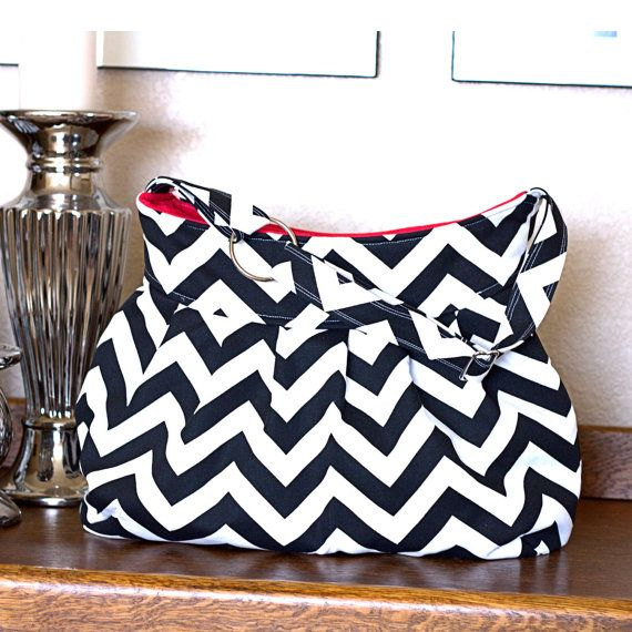 Pleated Diaper Bag Purse Or Camera Bag Black And White