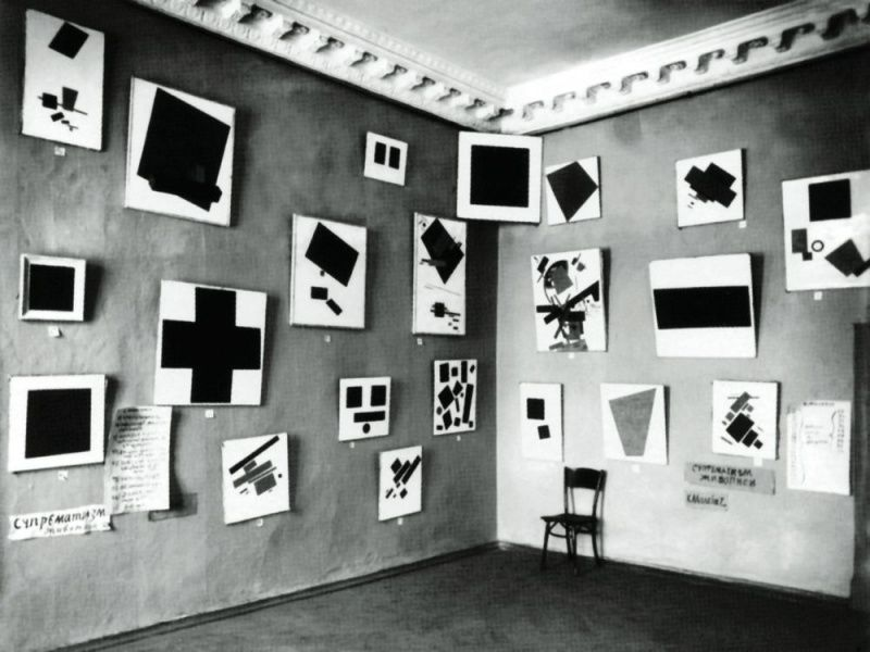 "Paintings by Kazimir Malevich on view in ""The Last Futurist Exhibition of Pictures 0.10,""  Saint Petersburg, 1915"