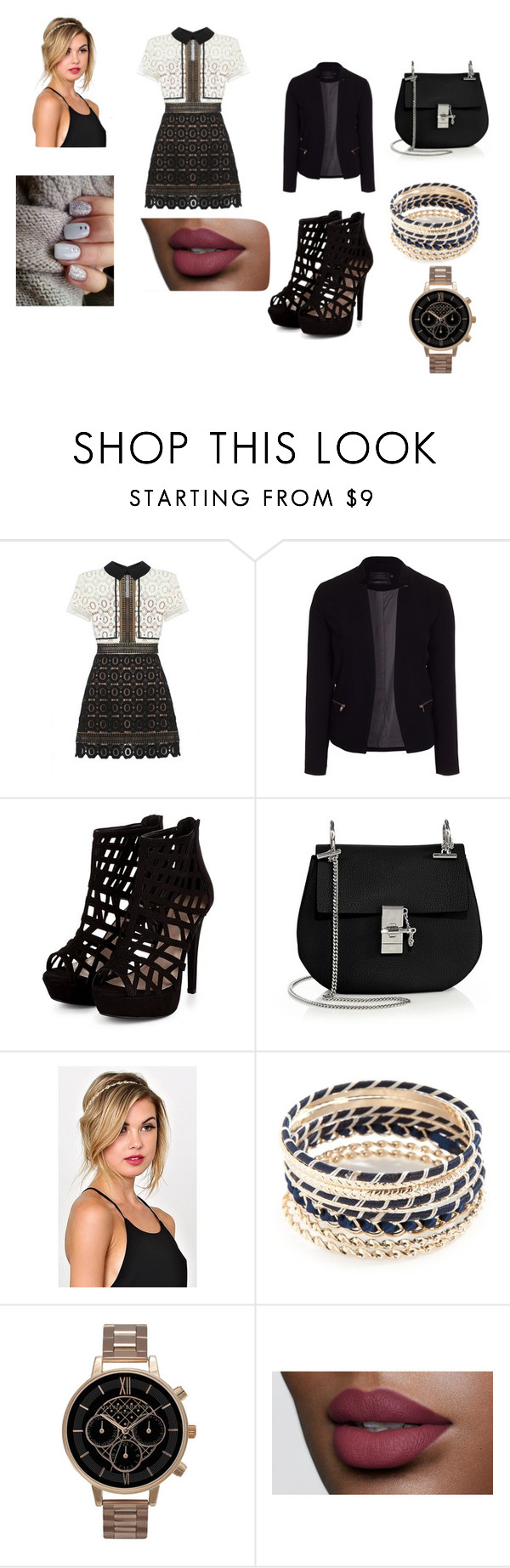 """""""party outfits"""" by kirahj28 on Polyvore featuring self-portrait, ONLY, Chloé, New Directions and Olivia Burton"""