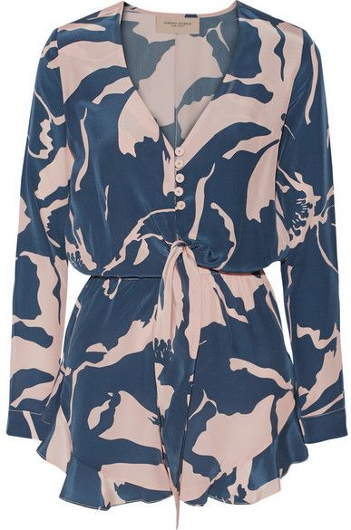 Outlet Sneakernews Websites Cheap Online Floral Silk Jumpsuit Adriana Degreas Outlet Clearance Free Shipping Wiki Cheap Prices Authentic uIJblL80P