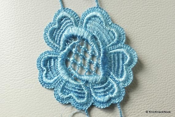 Blue Embroidered Flower Lace Trim Ribbon Approx 70mm wide - 041203L22 #pillowcasesandpillowcasedolls