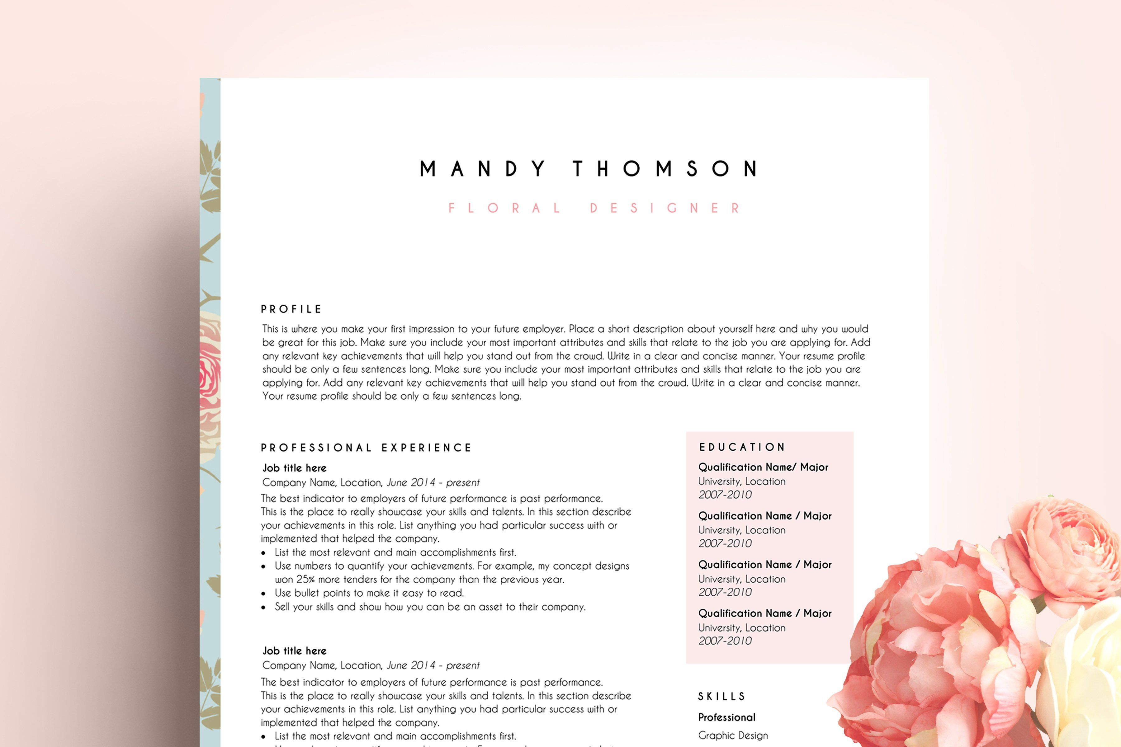Creative Resume Template Word Floral Creative Resume Templates Resume Template Word Creative Resume