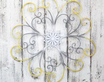 Flower Wrought Iron Scroll Wall Art Gray White Yellow Wall Decor