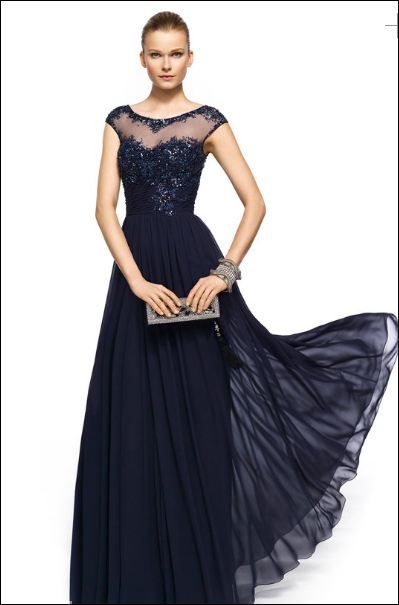 690a990f32798a Pronovias Barcelona Evening Gown 2013. navy blue beaded dress ...