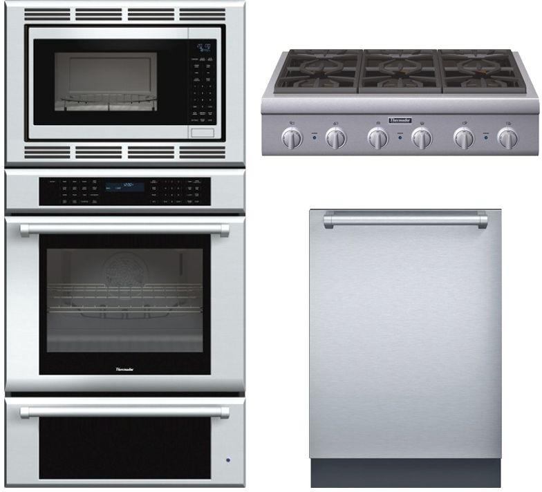 thermador stainless steel kitchen package with triple combination wall oven gas cooktop and fully integrated dishwasher