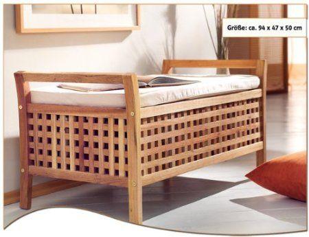 Sitzbank aus Walnussholz, inkl Auflage und Stauraum, Wäsche - holzbank für küche