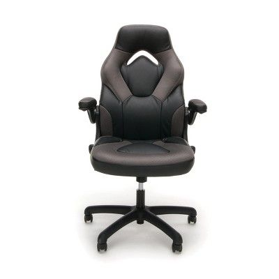 Adjustable Leather Mesh Gaming Office Chair With Wheels Gray Ofm