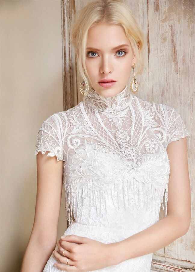 Embroidered Beaded Lace Bridal Topper Bolero With Beaded Fringe By Alvina Valenta Wedding Dresses White Bridal Dresses Bridal Dresses