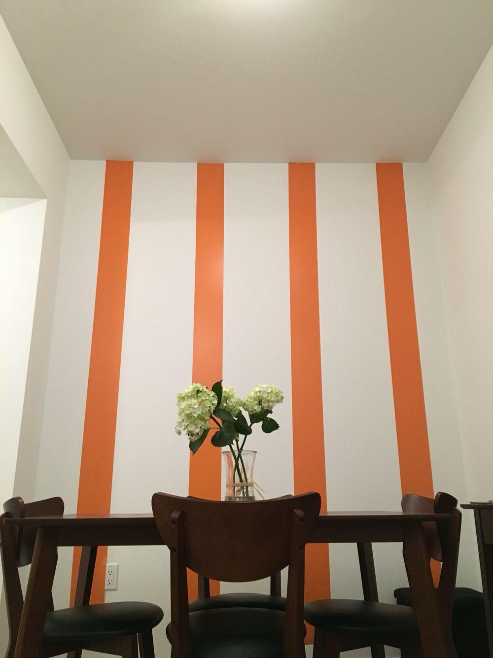decorating my home! I've regained my motivating. #orangestripes #decor #diningroom