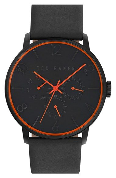 Ted Baker London Multifunction Leather Strap Watch, 42mm available at #Nordstrom