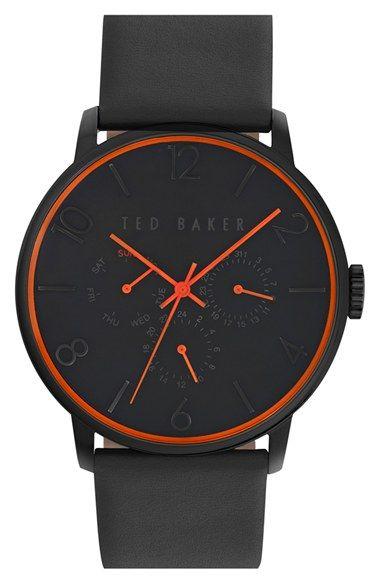 ted baker london multifunction leather strap watch 42mm. Black Bedroom Furniture Sets. Home Design Ideas