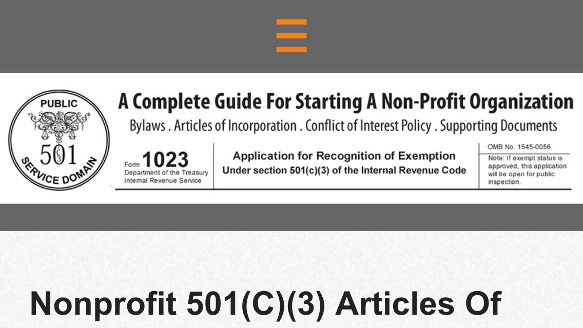 Nonprofit 501 C 3 Articles Of Incorporation Sample How To Write One Article Writing Non Profit Understanding