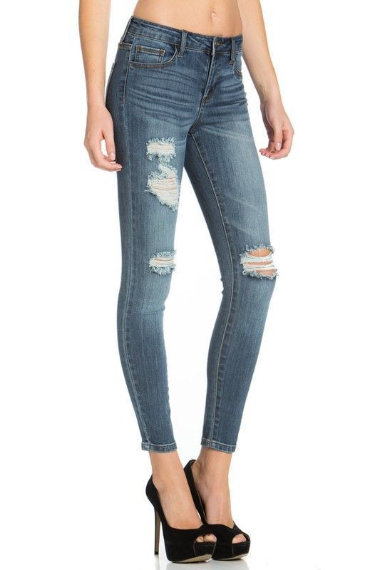 Distressed Whiskered Skinny Jean