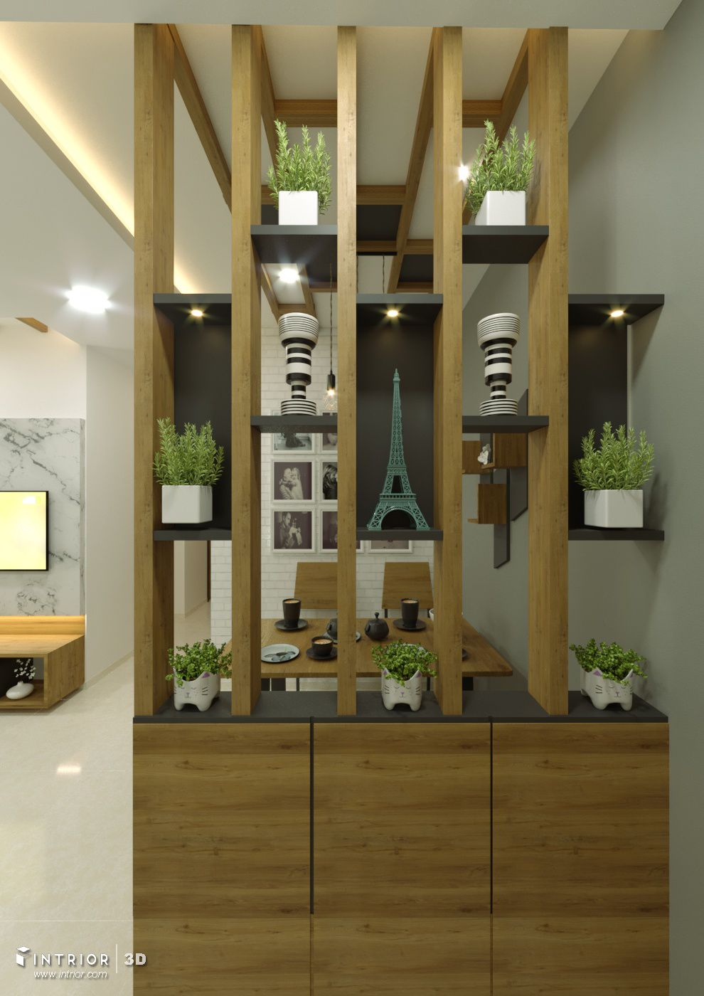 Wooden Partition With Shoe Rack Grey Color Niche Decorate The