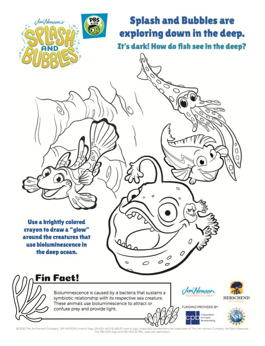 Splash and Bubbles Coloring Page + One Big Ocean DVD #coloringpage #kids  #ocean #fish #jimhenson #… | Ocean coloring pages, Coloring pages, Coloring  pages for kids