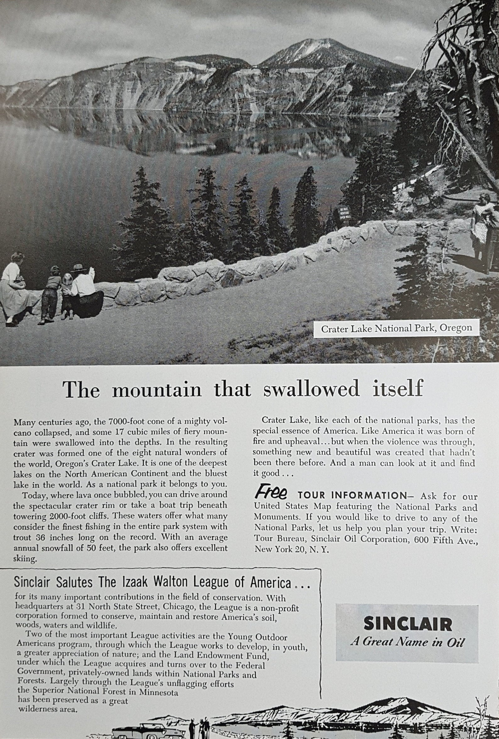 1955 OREGON USA Advertisement Retro Ad Crater Lake National Park