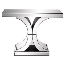 Mirrored Console Table With A Curving X Shaped Pedestal Base And Wood Frame Product Console Mirrored Console Table Contemporary Console Table Console Table